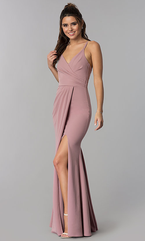 Image of faux-wrap mauve long formal prom dress with v-neck. Style: MCR-2601m Front Image