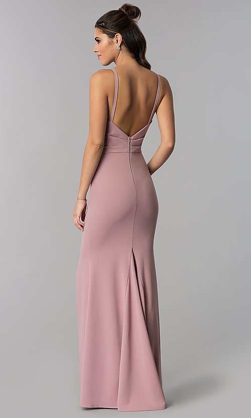 Image of faux-wrap mauve long formal prom dress with v-neck. Style: MCR-2601m Back Image