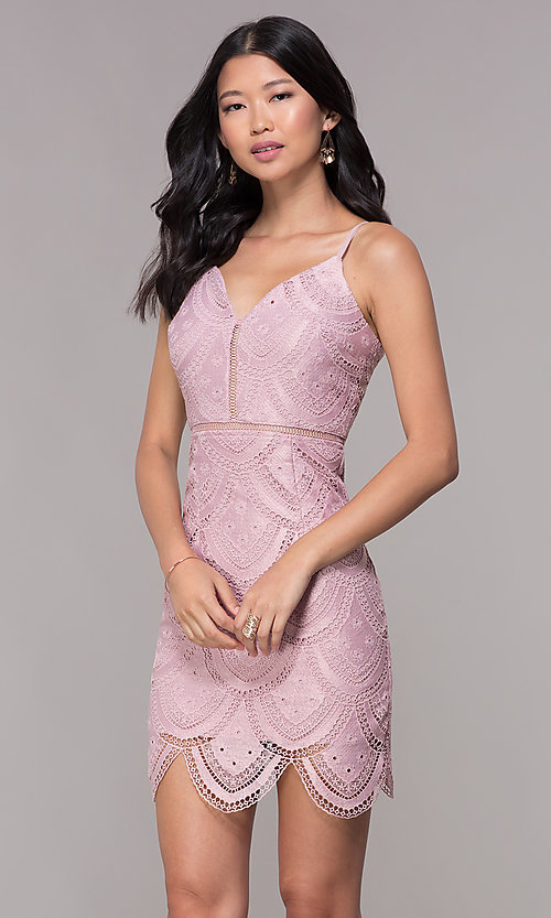 Image of mauve short lace homecoming dress with scalloped hem. Style: MT-9105m Front Image