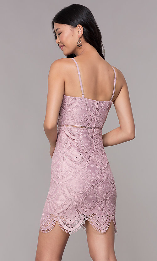 Image of mauve short lace homecoming dress with scalloped hem. Style: MT-9105m Back Image