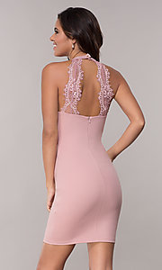 Image of lace-embellished short mauve pink homecoming dress. Style: SJP-AS101m Back Image