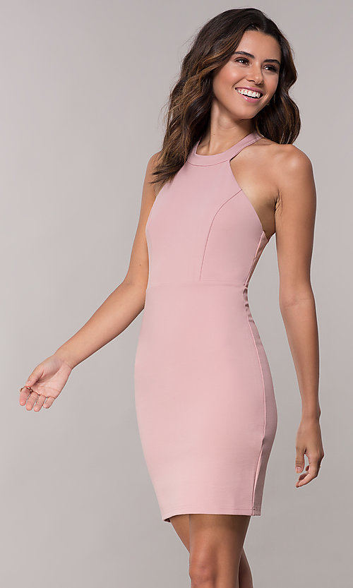Image of lace-embellished short mauve pink homecoming dress. Style: SJP-AS101m Front Image