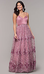 Image of long mauve prom dress with embroidered-mesh skirt. Style: CT-5752VM3CTP Front Image