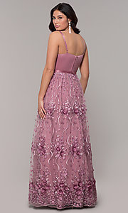 Image of long mauve prom dress with embroidered-mesh skirt. Style: CT-5752VM3CTP Back Image