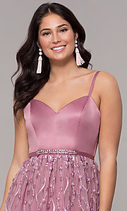 Image of long mauve prom dress with embroidered-mesh skirt. Style: CT-5752VM3CTP Detail Image 1