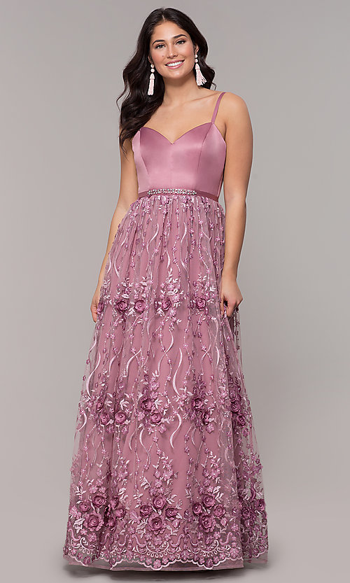 Image of long mauve prom dress with embroidered-mesh skirt. Style: CT-5752VM3CTP Detail Image 3