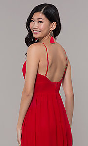 Image of v-neck long strawberry red chiffon formal dress. Style: CT-9560WJ1ATP Detail Image 2