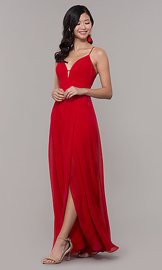 V-Neck Strawberry Red Formal Prom Dress
