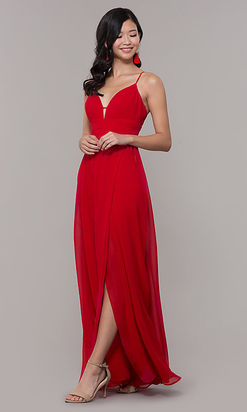 Image of v-neck long strawberry red chiffon formal dress. Style: CT-9560WJ1ATP Front Image