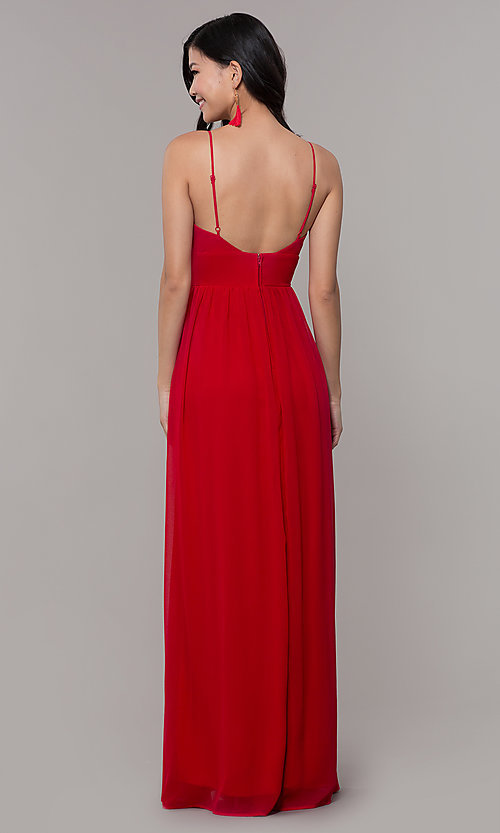 Image of v-neck long strawberry red chiffon formal dress. Style: CT-9560WJ1ATP Back Image