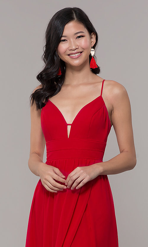 Image of v-neck long strawberry red chiffon formal dress. Style: CT-9560WJ1ATP Detail Image 1