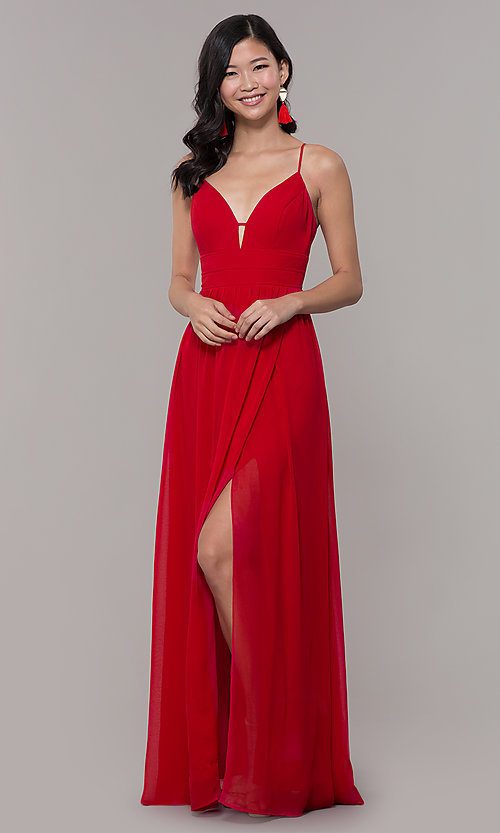Image of v-neck long strawberry red chiffon formal dress. Style: CT-9560WJ1ATP Detail Image 3