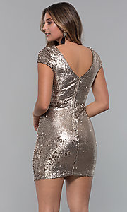 Image of bronze reversible-sequin short holiday dress. Style: MD-D15951CTP Back Image