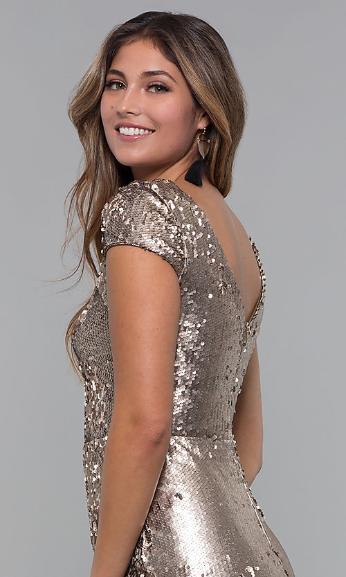 Image of bronze reversible-sequin short holiday dress. Style: MD-D15951CTP Detail Image 2