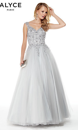 V-Neck Sleeveless Ball Gown by Alyce