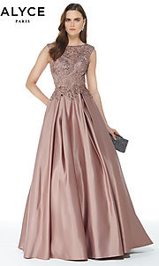 Image of beaded-bodice long satin formal dress with pockets. Style: AL-27010 Detail Image 3