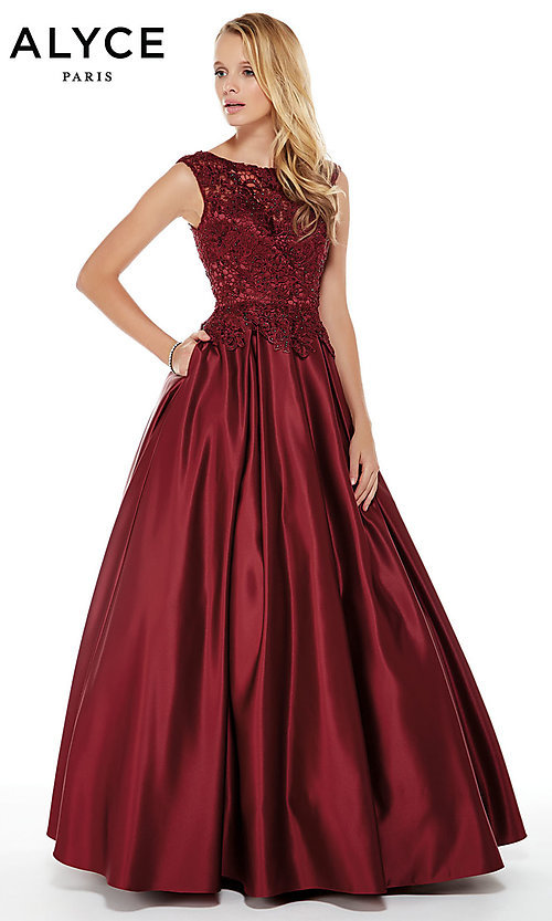 Image of beaded-bodice long satin formal dress with pockets. Style: AL-27010 Front Image