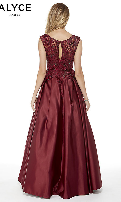 Image of beaded-bodice long satin formal dress with pockets. Style: AL-27010 Back Image