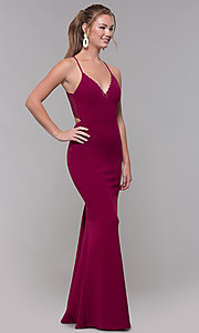 Image of lace-racerback long prom dress in bordeaux red. Style: SS-X39031DNE Back Image