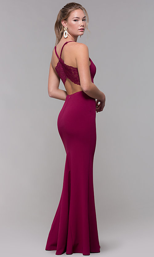 Image of lace-racerback long prom dress in bordeaux red. Style: SS-X39031DNE Front Image