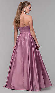 Image of strapless sweetheart long satin prom dress in mauve. Style: SS-X39603QB4 Back Image