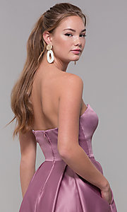 Image of strapless sweetheart long satin prom dress in mauve. Style: SS-X39603QB4 Detail Image 2