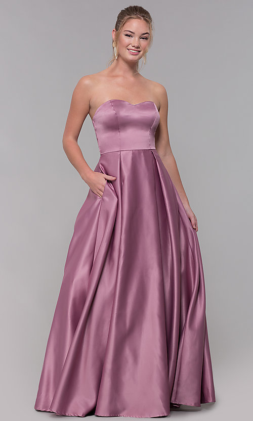 Image of strapless sweetheart long satin prom dress in mauve. Style: SS-X39603QB4 Front Image