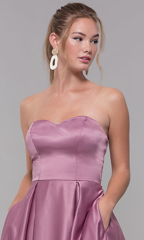 Image of strapless sweetheart long satin prom dress in mauve. Style: SS-X39603QB4 Detail Image 1