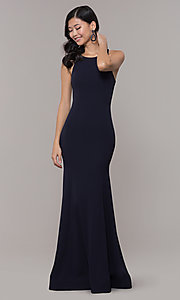 Image of open-back long navy blue cut-out formal dress. Style: MY-5542US1S Back Image