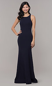 Image of open-back long navy blue cut-out formal dress. Style: MY-5542US1S Detail Image 3