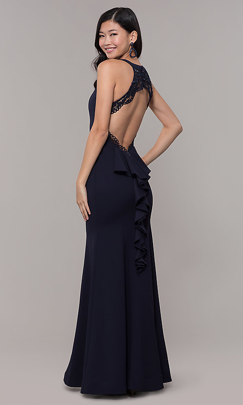 Image of open-back long navy blue cut-out formal dress. Style: MY-5542US1S Front Image