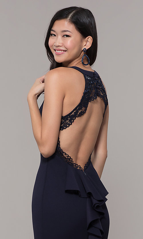 Image of open-back long navy blue cut-out formal dress. Style: MY-5542US1S Detail Image 2