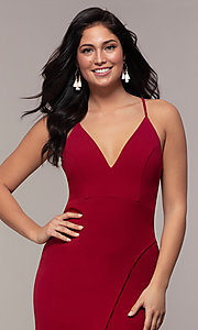 Image of lace-back long merlot red formal evening dress. Style: MY-5546US1S Detail Image 1
