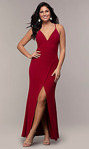 Image of lace-back long merlot red formal evening dress. Style: MY-5546US1S Detail Image 3