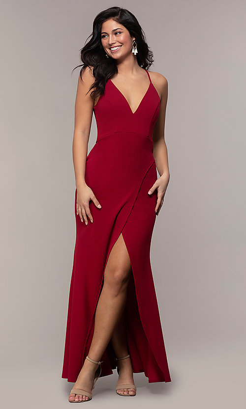 Image of lace-back long merlot red formal evening dress. Style: MY-5546US1S Front Image