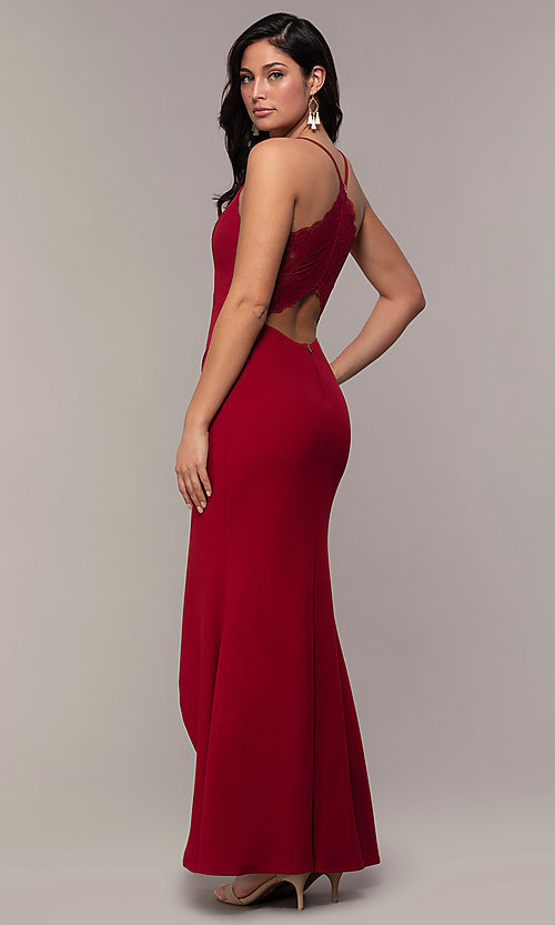 Image of lace-back long merlot red formal evening dress. Style: MY-5546US1S Back Image