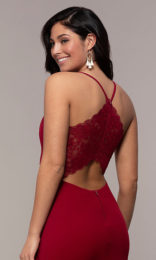 Image of lace-back long merlot red formal evening dress. Style: MY-5546US1S Detail Image 2