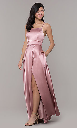 Corset-Back Long Mauve Pink Satin Formal Dress