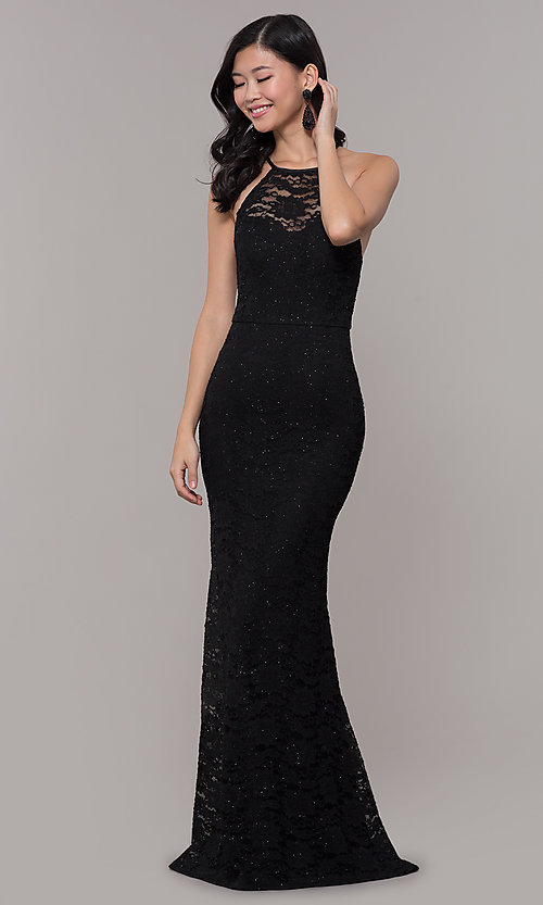 Image of long black glitter-lace formal evening dress. Style: MY-5616ZJ1S Front Image