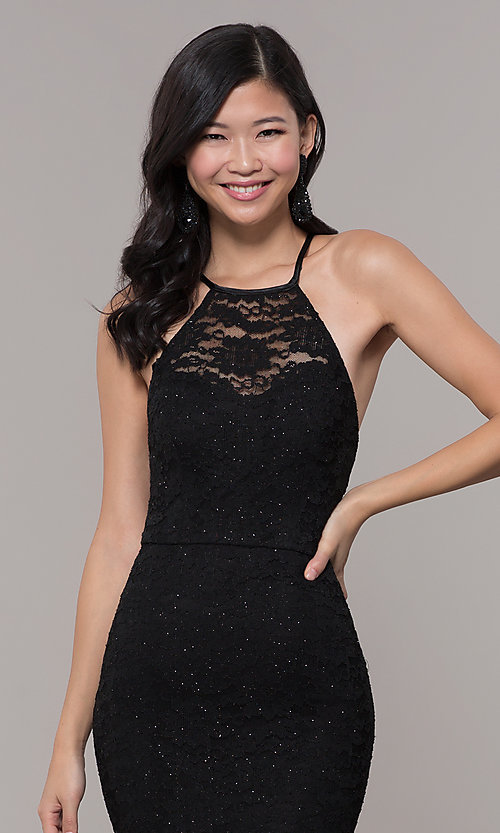Image of long black glitter-lace formal evening dress. Style: MY-5616ZJ1S Detail Image 1