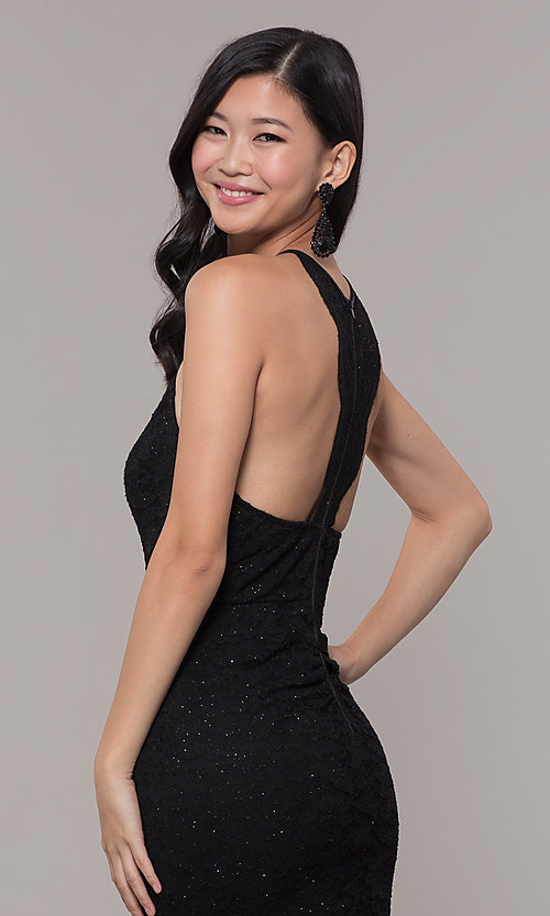 Image of long black glitter-lace formal evening dress. Style: MY-5616ZJ1S Detail Image 2