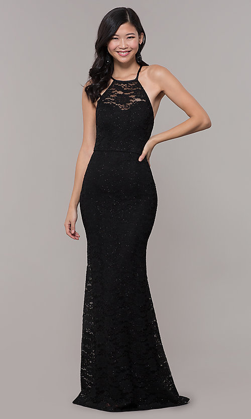 Image of long black glitter-lace formal evening dress. Style: MY-5616ZJ1S Detail Image 3