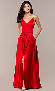 Image of long red v-neck faux-wrap formal dress. Style: MY-7143ZV1S Front Image