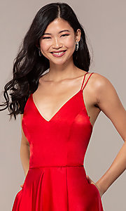 Image of long red v-neck faux-wrap formal dress. Style: MY-7143ZV1S Detail Image 1
