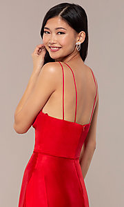 Image of long red v-neck faux-wrap formal dress. Style: MY-7143ZV1S Detail Image 2