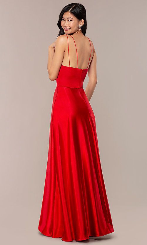 Image of long red v-neck faux-wrap formal dress. Style: MY-7143ZV1S Back Image