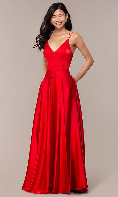 Image of long red v-neck faux-wrap formal dress. Style: MY-7143ZV1S Detail Image 3
