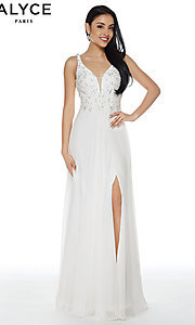 Image of long chiffon formal prom dress with open v-back. Style: AL-60254 Detail Image 1