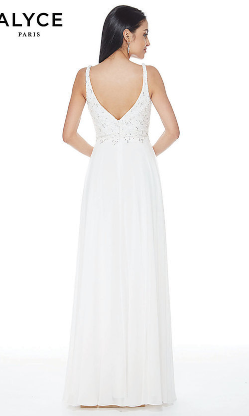 Image of long chiffon formal prom dress with open v-back. Style: AL-60254 Back Image