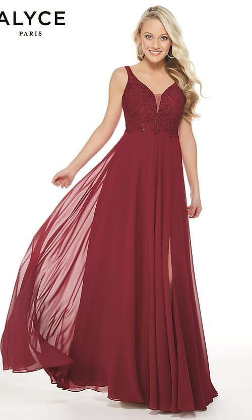 Image of long chiffon formal prom dress with open v-back. Style: AL-60254 Front Image